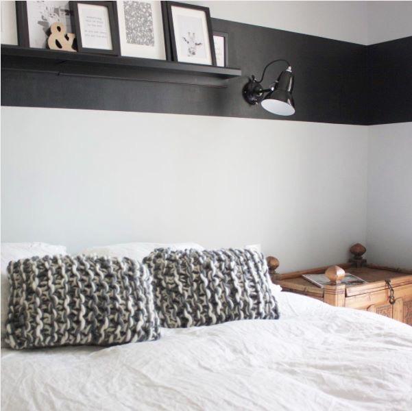 Coussins en tricot grosse laine pour lit