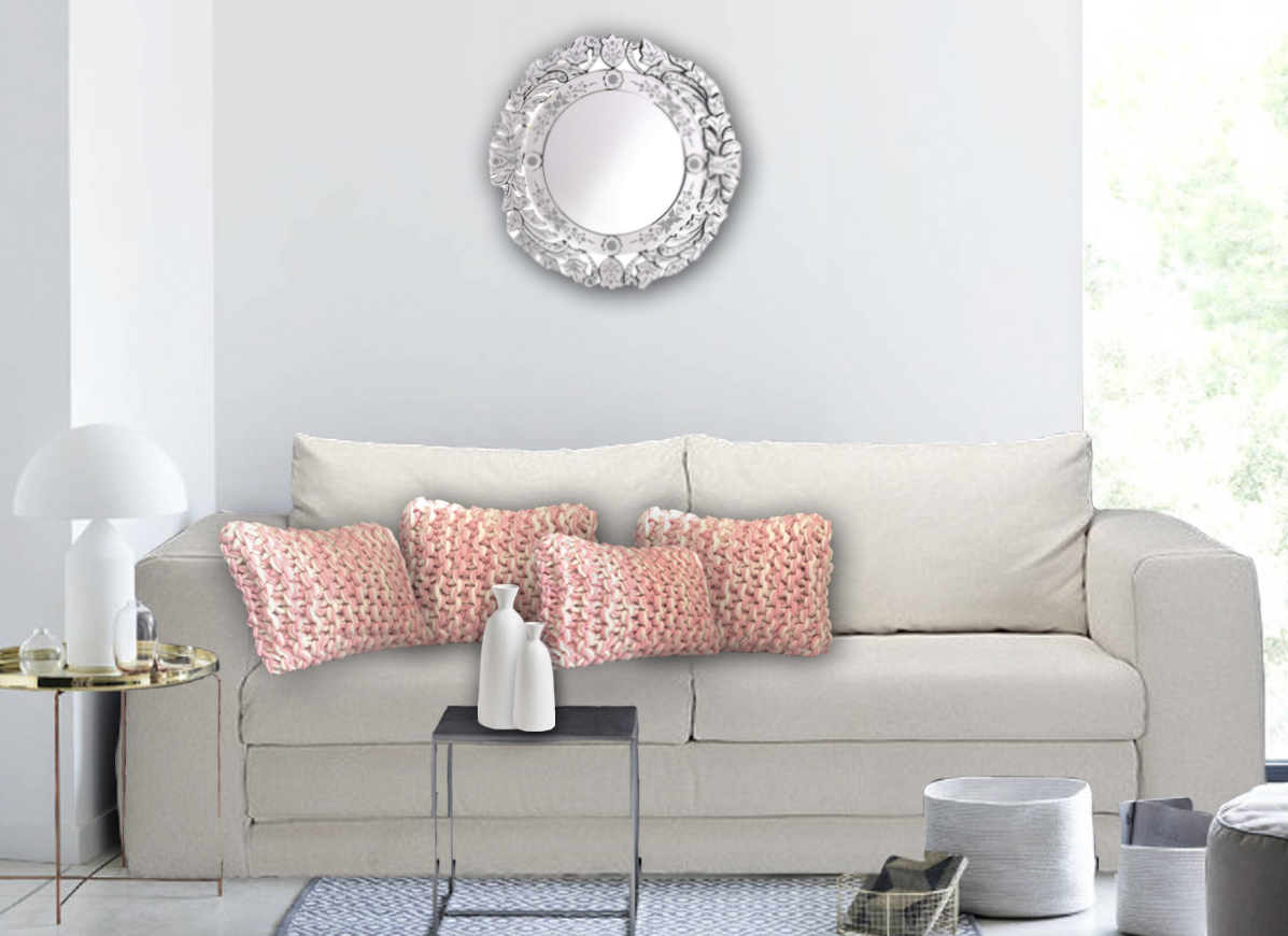 Coussins laine grosse maille rose et blanc