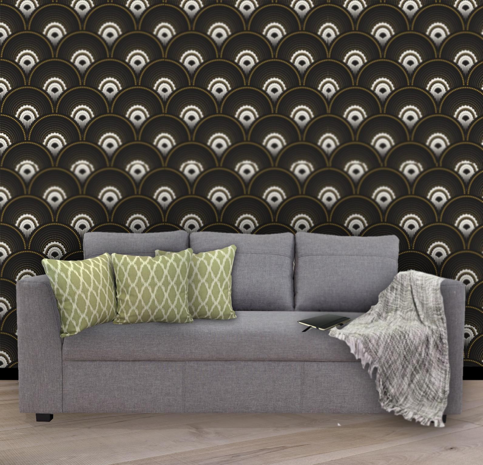 Coussins vert luxe pour canape gris
