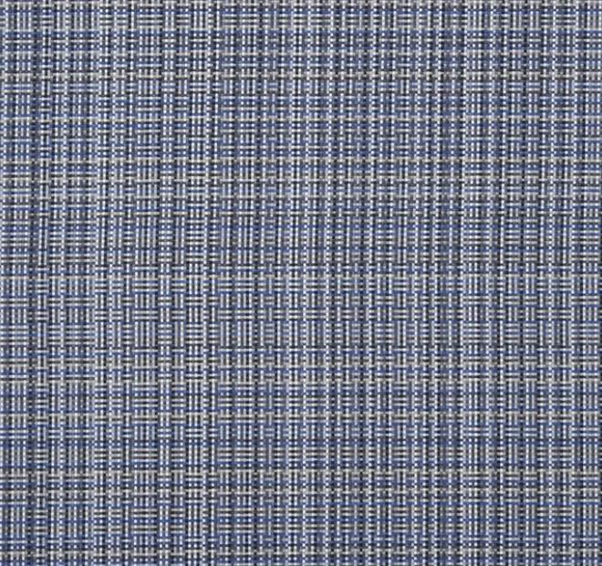 Le tissu bleu cobalt utilisé pour la banquette