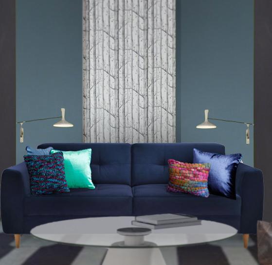 Coussins pour canapé bleu en velours