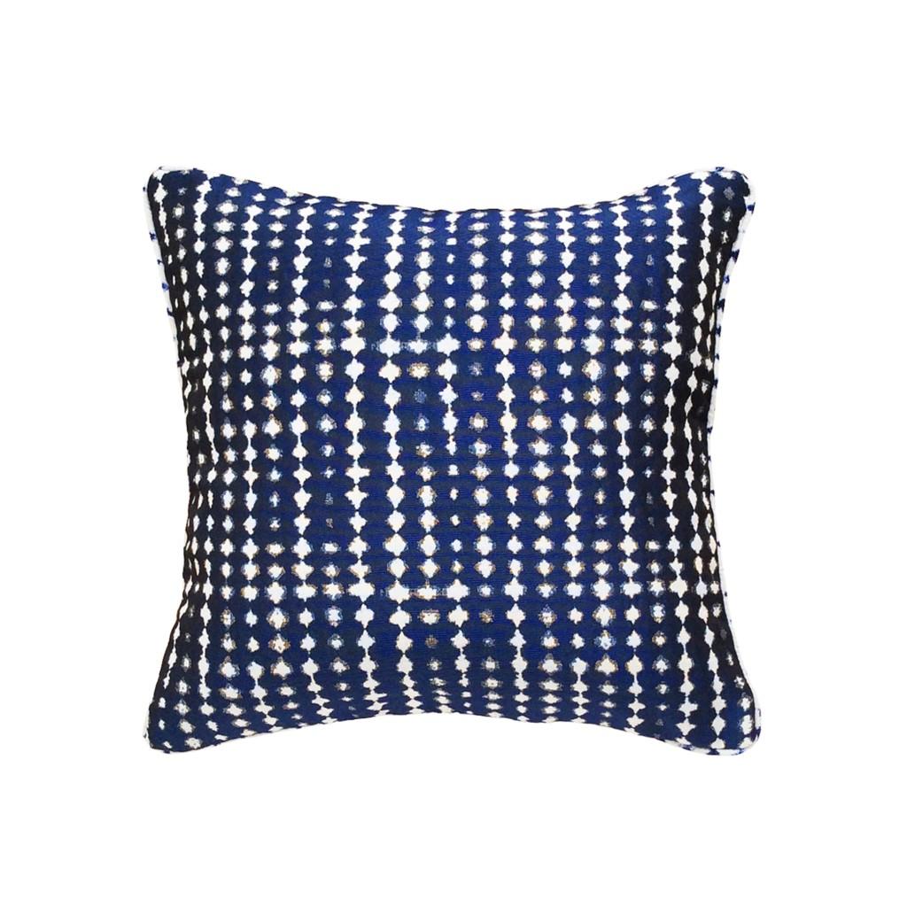 Coussin original design carre 40x40 motifs geometriques bleu indigo