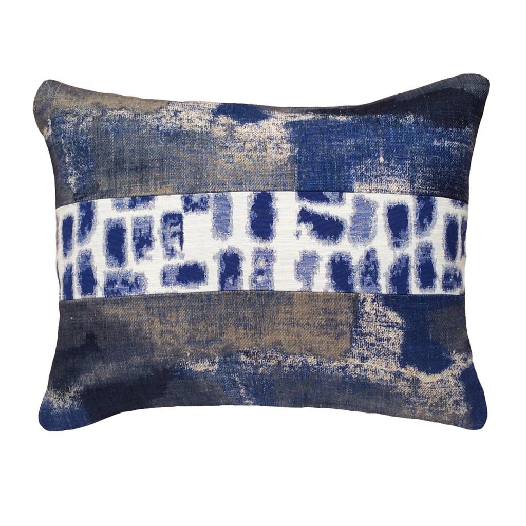 Coussins rectangulaires originaux design 40x50 en lin bleu indigo