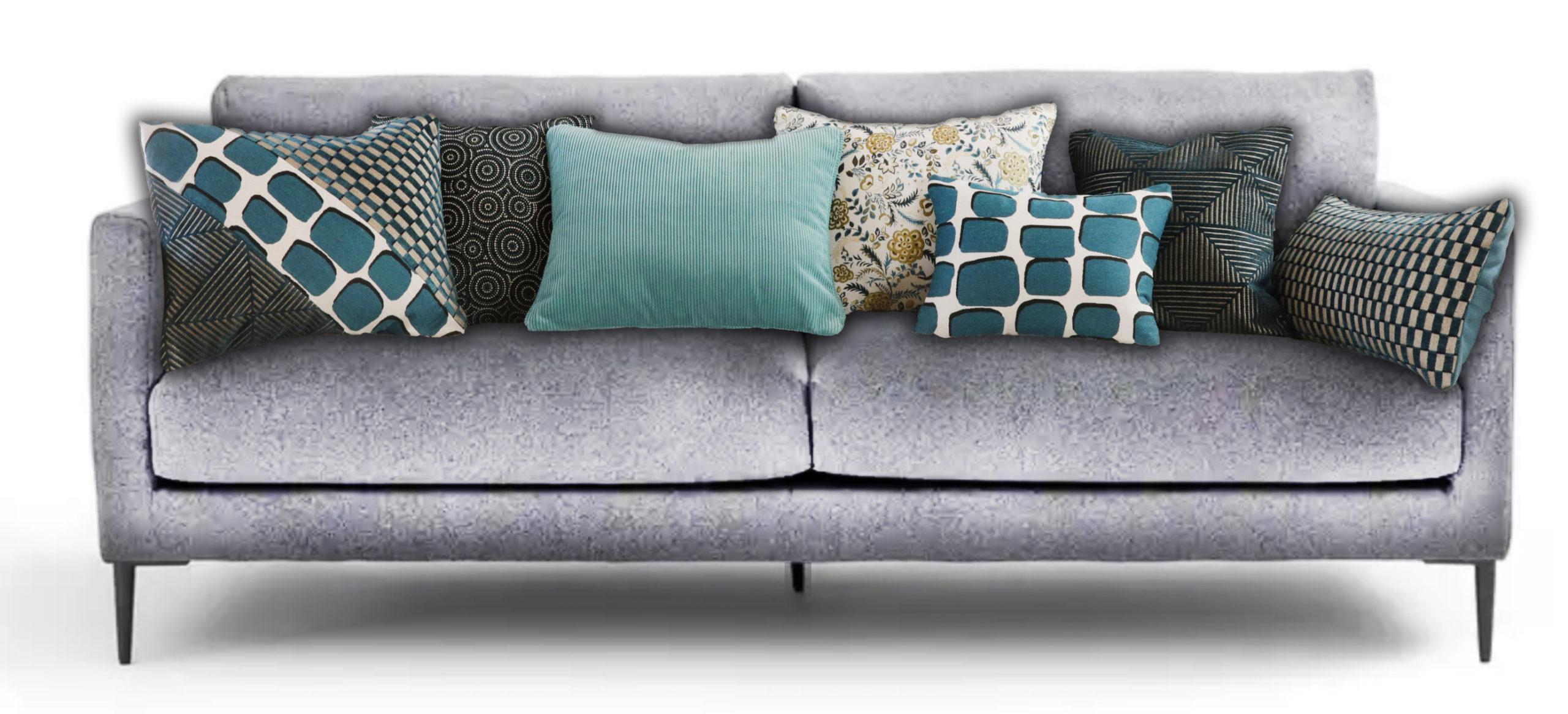 Coussins rectangulaires pour canapé gris