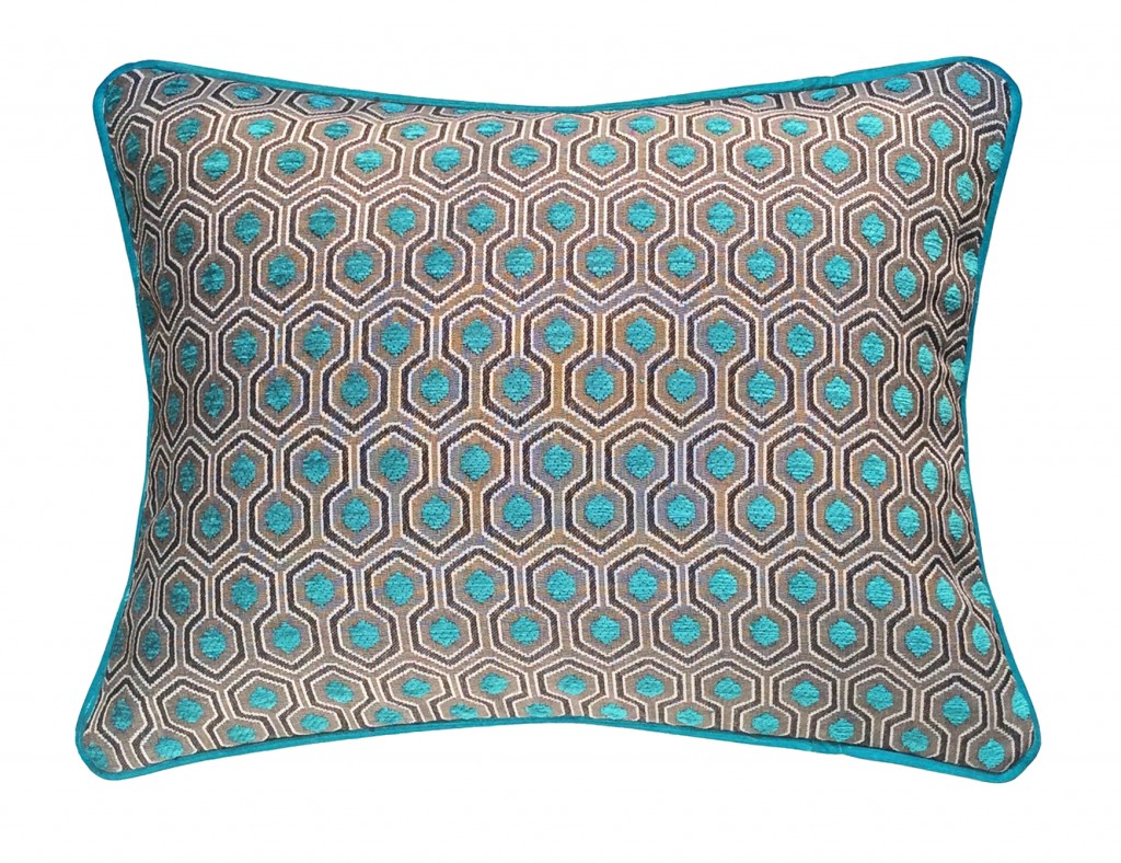 Coussins deco bleus velours turquoise