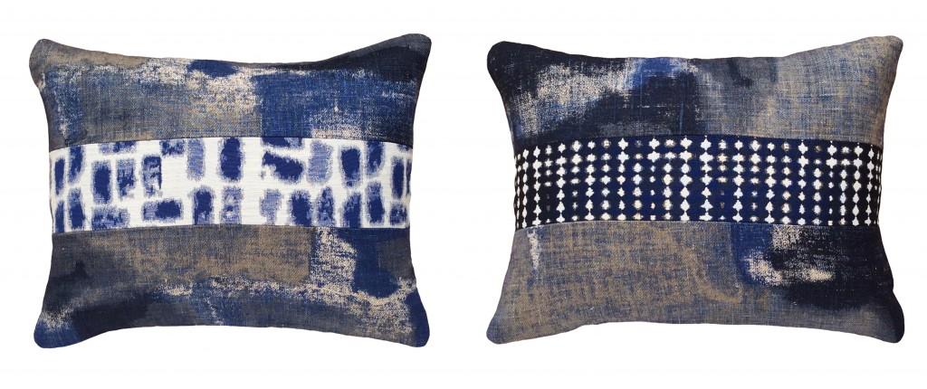 Coussins deco bleus haut de gamme rectangulaires 40x50