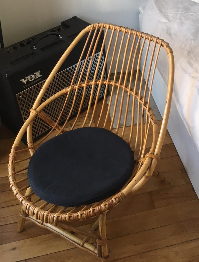 Coussin rond pour fauteuil en rotin ou en osier
