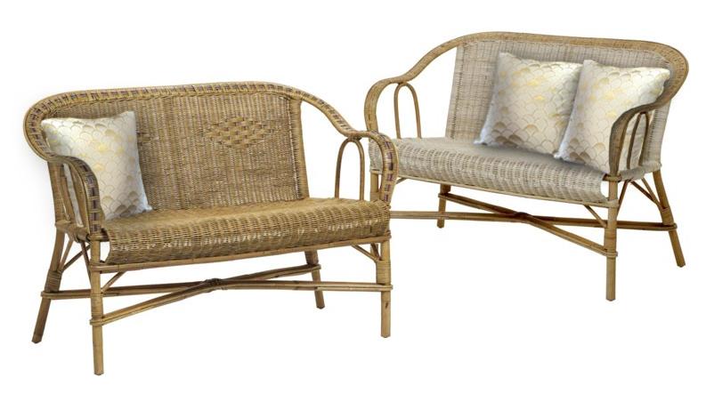 Coussins dorés decoratifs pour fauteuil en rotin