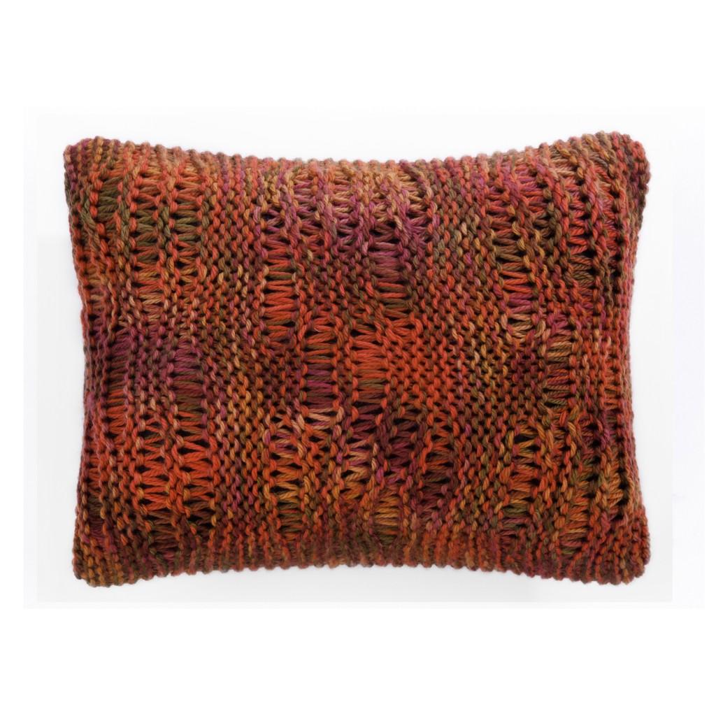 Coussin laine grosse maille paprika et rouge