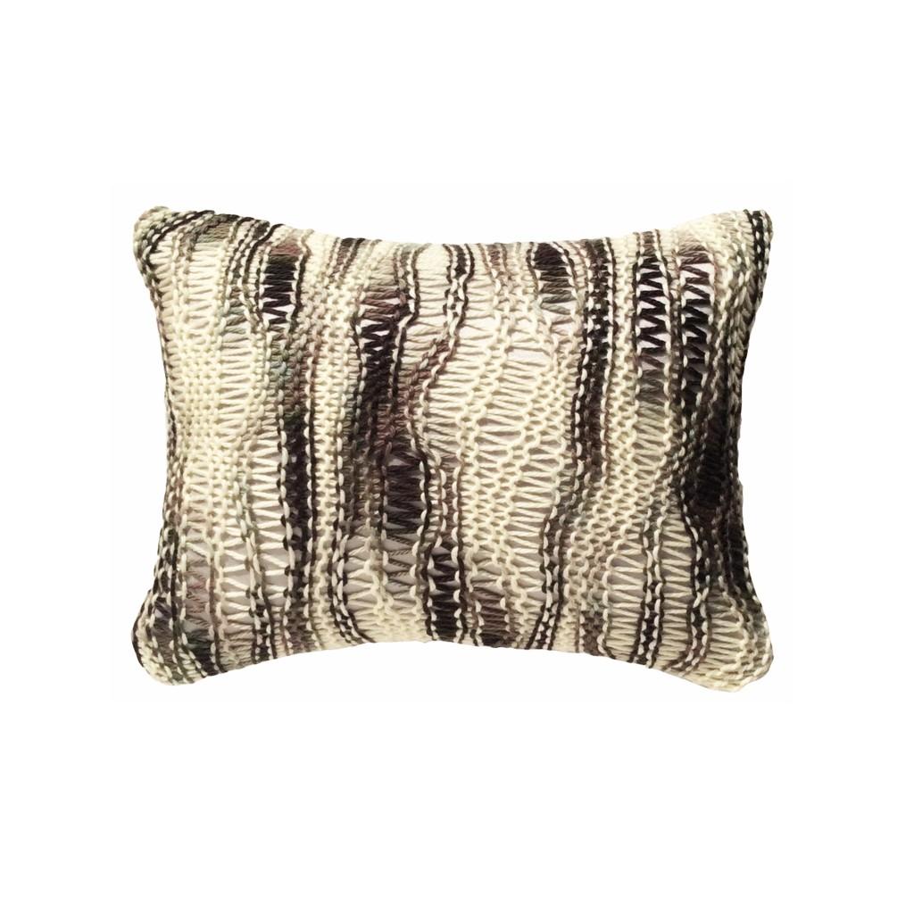 Coussin laine grosse maille noir et blanc