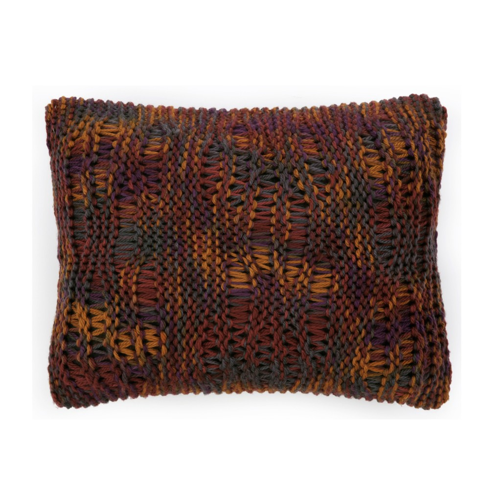 Coussin laine grosse maille jaune safran et violet