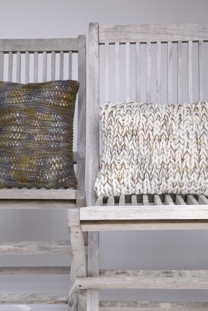 Coussin laine grosse maille haut de gamme fait main
