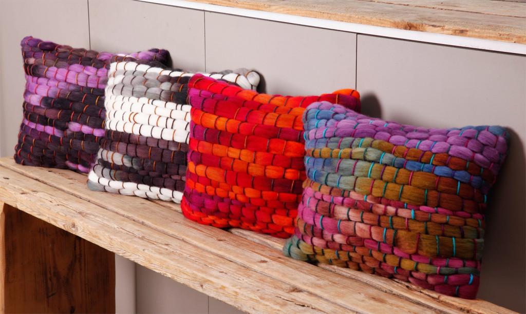 Coussins en grosse laine faits main