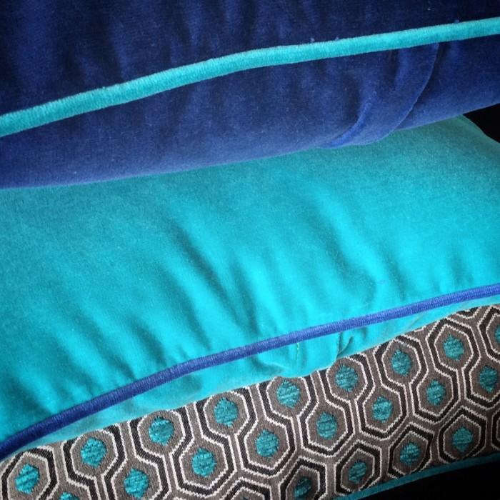 coussins desigh tendance vert et bleu velours