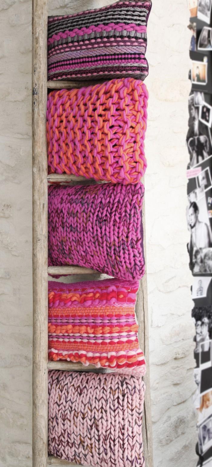 Coussin tendance grosse laine