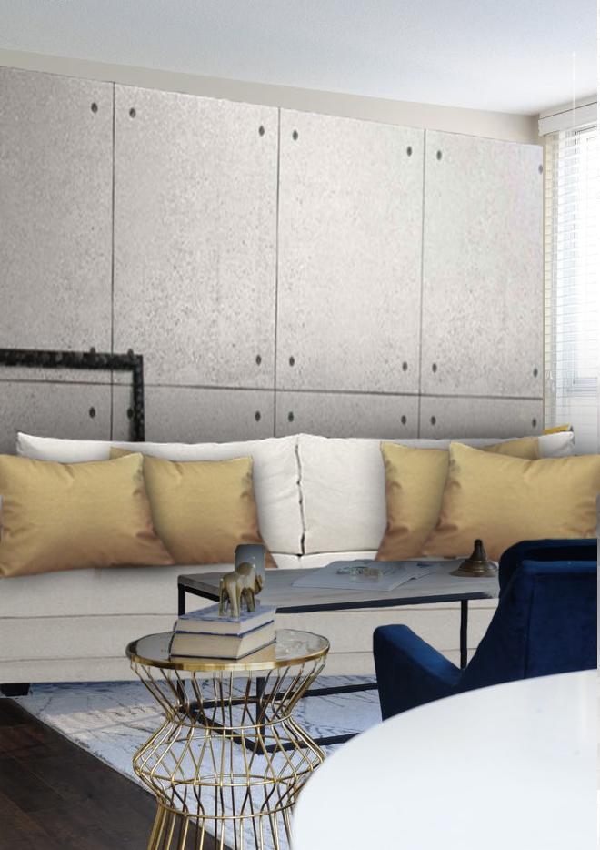Coussin tendance doré haut de gamme sur canapé blanc
