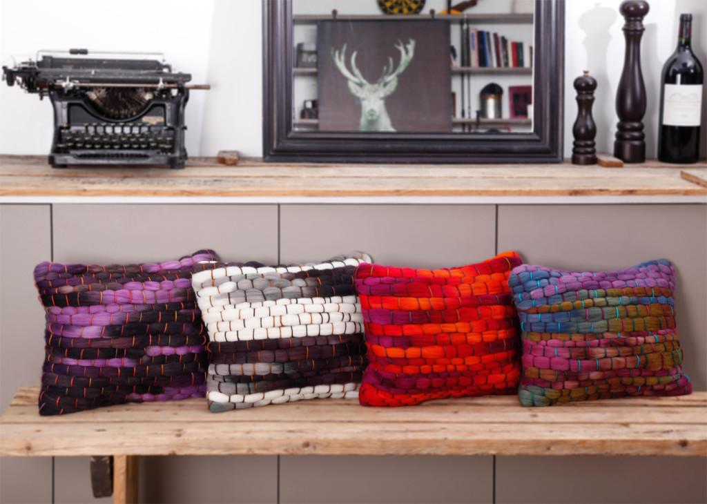 Coussin fait main laine tissée