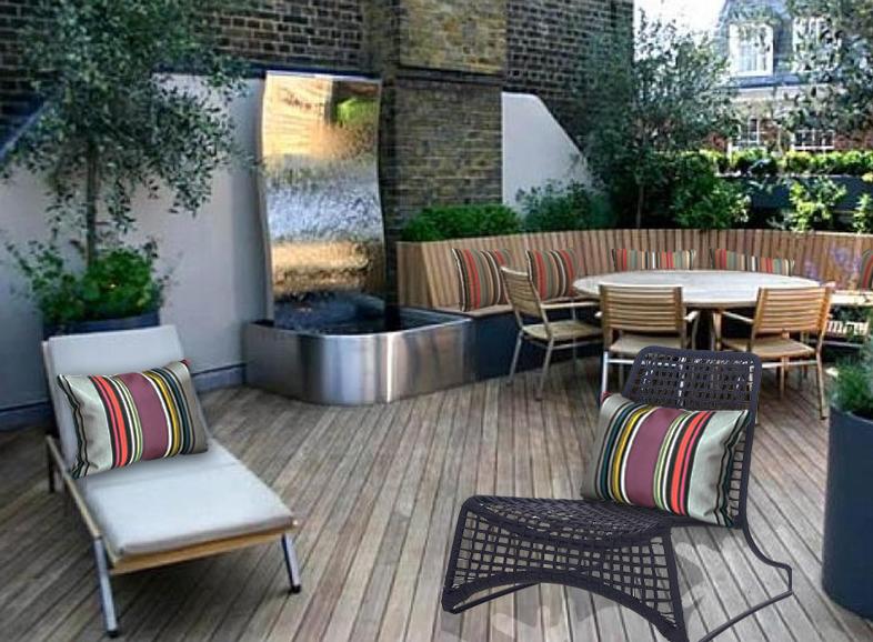 Coussin d'extérieur rectangulaire 40x50 pour terrasse en ville