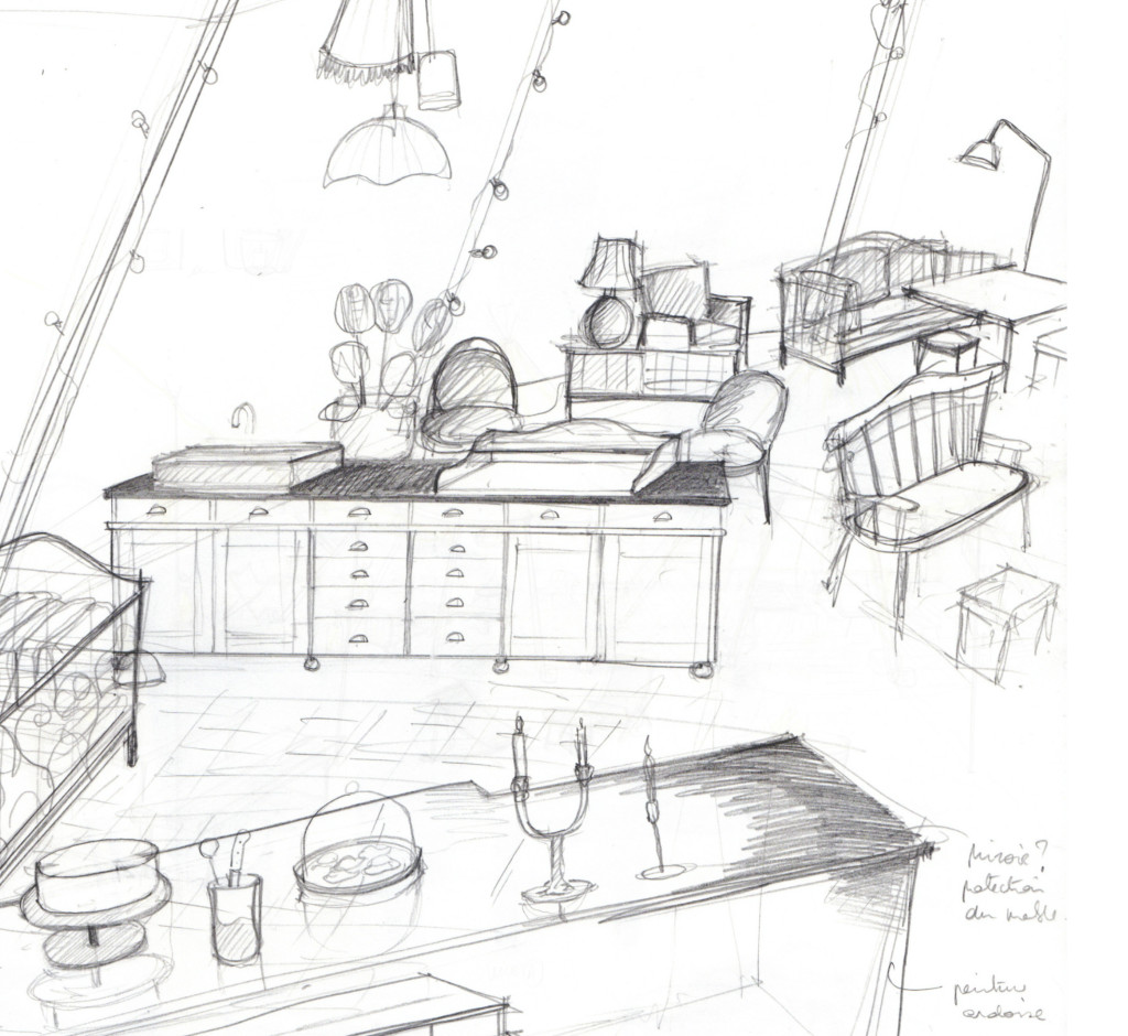 croquis mobilier architecte