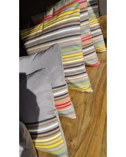 Bosa - Coussin extérieur 50x50 à rayures jaunes et vertes