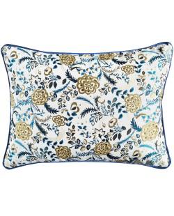 Lumio - Coussin rectangulaire 50x40 fleuri bleu marine