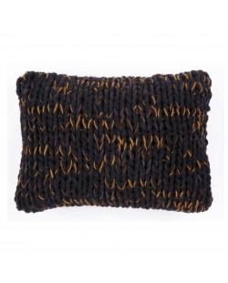 coussin noir tricot nordique haut de gamme fait main