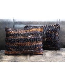 coussin nordique noir en tricot fait main