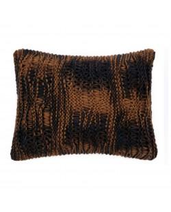 coussin noir tricot design fait main