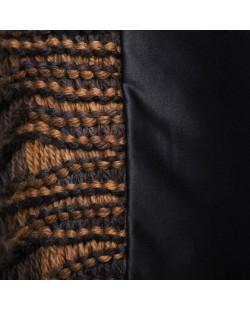 coussin noir tricot nordique fait main