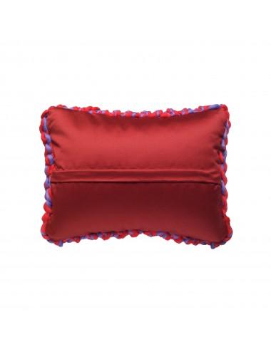 Coussin laine grosse maille rouge et bleu