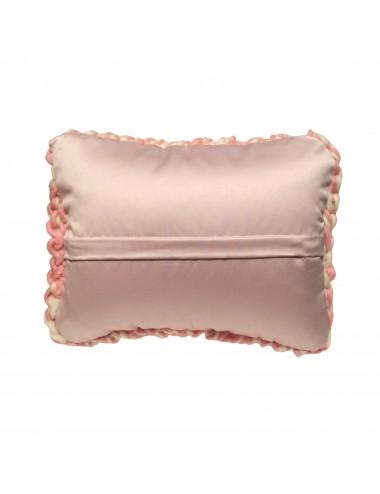 Coussin laine grosse maille romantique rose