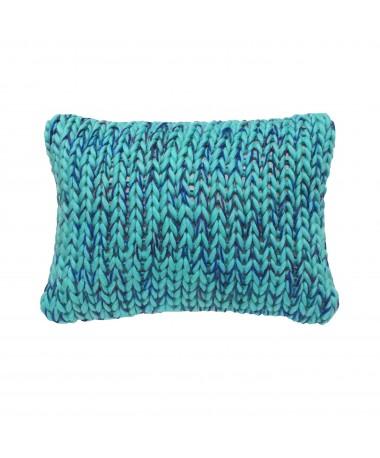 Coussin laine grosse maille bleu vert