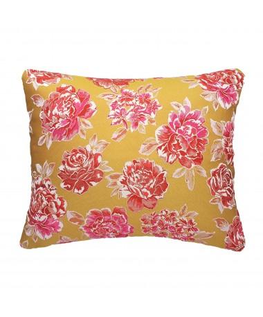 Coussin rectangulaire rose et jaune