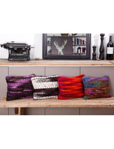 Coussin fait main grosse laine fuchsia et gris