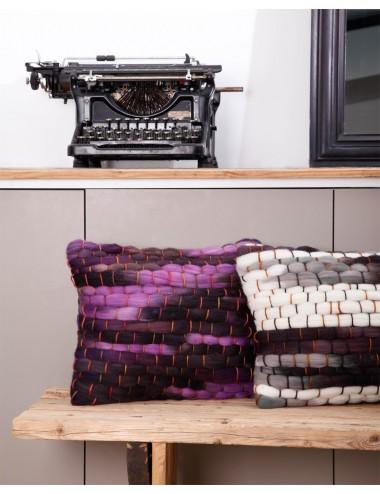 Coussins de luxe en grosse laine rose et gris