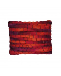 Coussin orange et gris en grosse laine tissée à la main