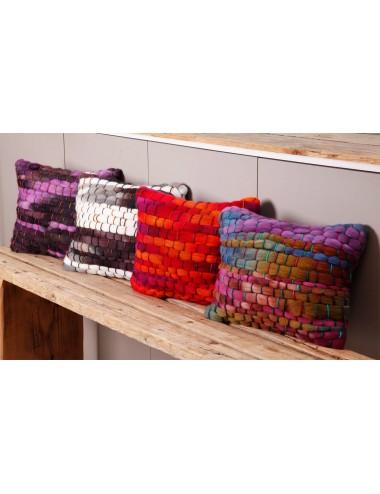 Coussins de lue en grosse laine tissée