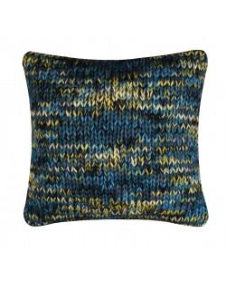 Coussin grosse laine bleu canard et jaune