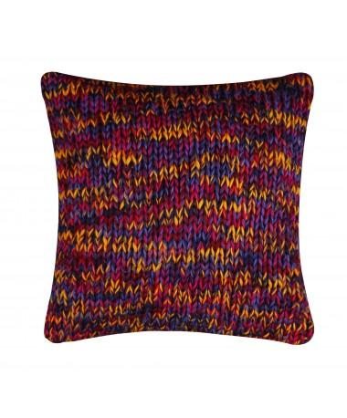 Coussin grosse maille orange et violet