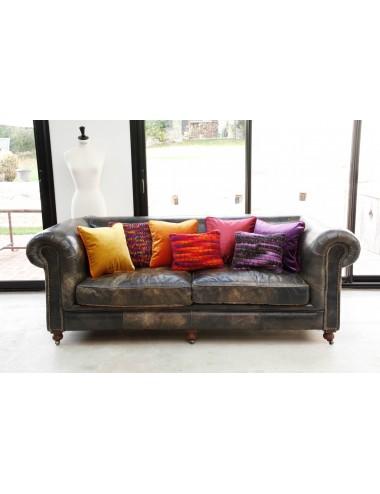 Coussins en velours orange et velours violet