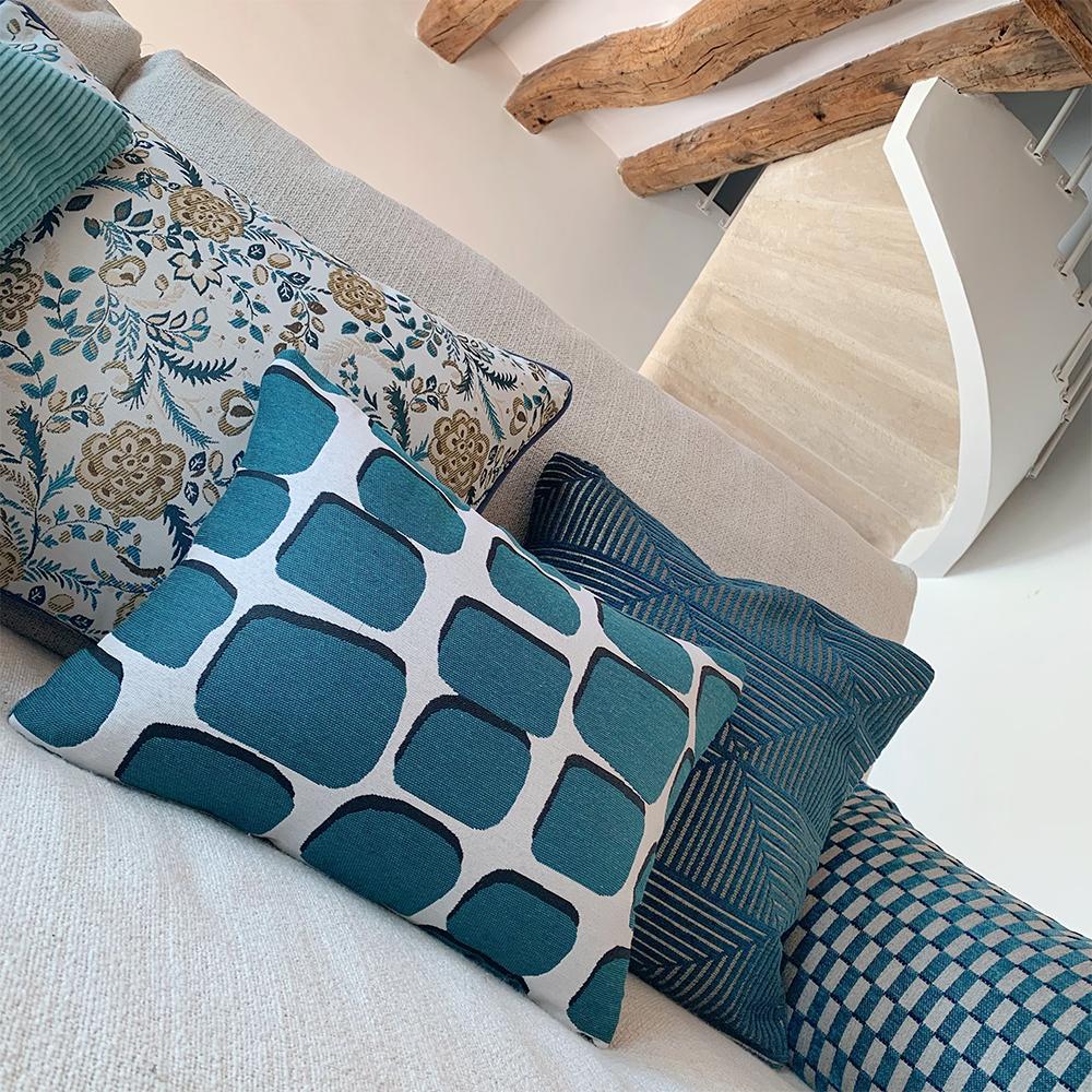 Coussins bleu canard rectangulaires haut de gamme