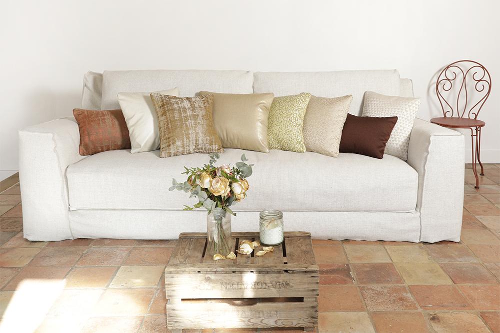 Coussins luxe écrus et beiges