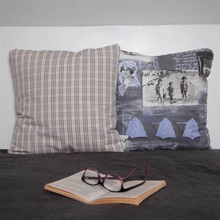 Coussins romantiques bleus et gris