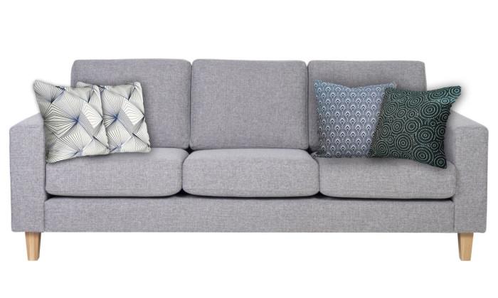 Coussin bleu pour coussins pour canapé gris